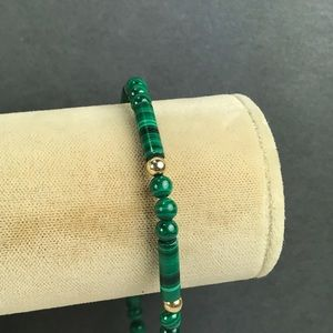 Vintage malachite gold filled bead bracelet